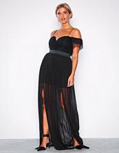 Rare London Black Bardot Lace Detail Maxi Dress