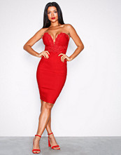 Rare London Red Lace Trim Midi Dress