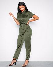 Glamorous Khaki Short Sleeve Jumpsuit