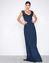 NLY Eve Navy Scalloped Edge Open Back Gown