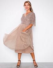 Maya Mink V-Neck Delicate Sequin Midi Dress