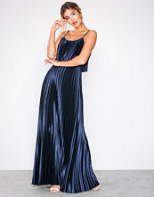 NLY Eve Navy Pleated Satin Gown