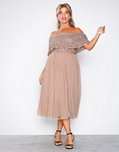 Maya Taupe Bardot Delicate Sequin Midi Dress
