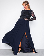 NLY Eve Navy Lace Trim LS Gown
