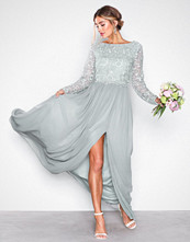 NLY Eve Grå Lace Trim LS Gown