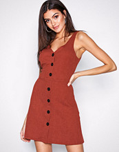 New Look Red Cross Hatch Button Front Pinafore Dress
