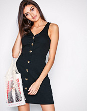 New Look Black Cross Hatch Button Front Pinafore Dress