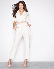 Closet White Short Sleeve Collar Jumpsuit