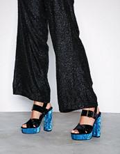 NLY Shoes Svart/Blå High Heel Platfrom Sandal