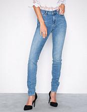 Selected Femme Blå Slfida Mw Skinny Mid Blue Jeans W