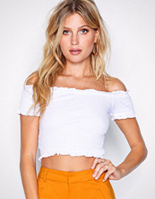 New Look White Shirred Bardot Neck Crop