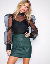 Only Grå onlBASE Faux Leather Skirt Otw Noos