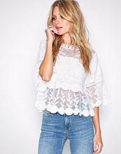 New Look White Crochet Mesh Scallop Hem Smock Top