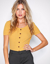 New Look Lemon Button Front Ribbed T-Shirt