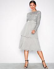 Maya Delicate Sequin Tiered Midi Dress