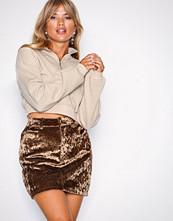 NLY Trend Brun Coated Velvet Skirt
