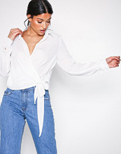 Missguided Ivory Wrap Over Tie Side Blouse
