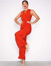 River Island Straight V Wide Jumpsuit Red