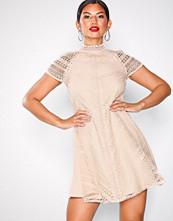 Little Mistress Beige Lace Shift Dress
