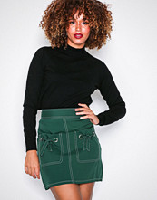 Missguided Green Contrast Stitch Mini Skirt