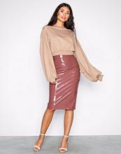 NLY One Mørk rosa Patent Midi Skirt