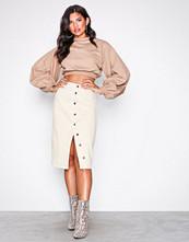 NLY Trend Offwhite Midi Button Denim Skirt
