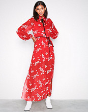 River Island Red LS Floral Maxi Dress