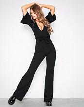 Missguided Black Plunge Kimono Sleeve Jumpsuit