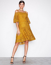 True Decadence Mustard Cold Shoulde Lace Dress