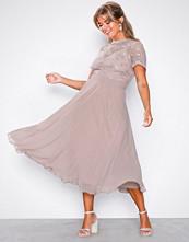 Little Mistress Mink 3D Floral Midi Dress
