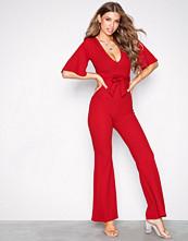 Missguided Red Plunge Kimono Sleeve Jumpsuit