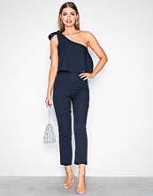 Missguided Navy One Shoulder Bow Jumpsuit