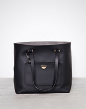 New Look Black Leather-Look Tote Bag