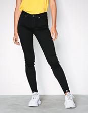 Selected Femme Svart Slfida Mw Skinny Black Jeans W Noo