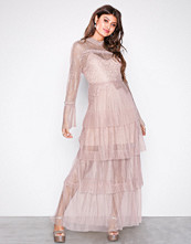 True Decadence Light Pink Long Sleeve Frill Maxi Dress