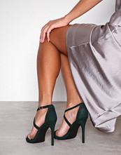 New Look Dark Green Suedette Strappy Stiletto Heel Sandals