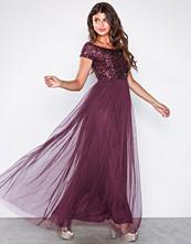 Maya Berry Bardot Embellished Maxi Dress