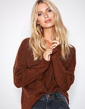 Selected Femme Mørk brun Slflivana Ls Knit V-Neck Noos