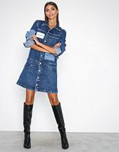 Calvin Klein Blue One Pocket Trucker Dress