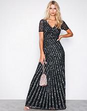 Maya Black Embellished Short Sleeve Maxi Dress