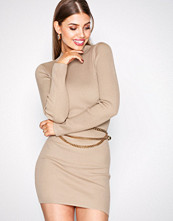 Missguided Camel High Neck Knitted Mini Dress
