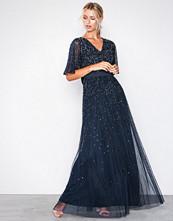 Maya Navy V Neck Open Back Scatter Sequin Maxi Dress