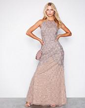 Maya Taupe Cage Embellishment Maxi Dress With Train