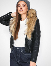 New Look Black Leather-Look Faux Fur Collar Jacket