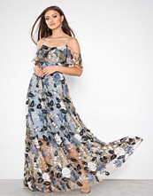 True Decadence Dusty Blue Floral Embroidered Maxi Dress