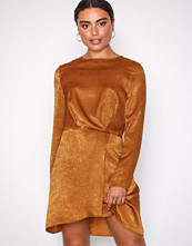 Missguided Brown Long Sleeve Wrap Dress