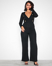 Ax Paris Black Long Sleeve Jumpsuit