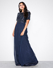 NLY Eve Navy Sprinkle Short Sleeve Gown