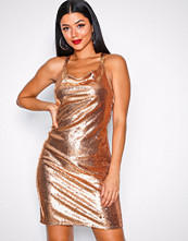 NLY One Rose Gold Sequin Waterfall Dress