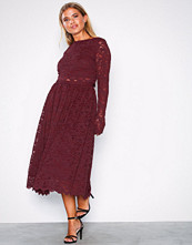 NLY Eve Burgundy Lace Dream Midi Dress